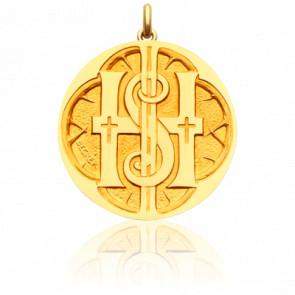 Médaille Monogramme IHS Or Jaune 18K