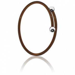 Bracelet Hula Hoop Résine Marron & Argent