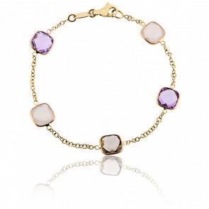 Bracelet Aria Or Jaune, Améthystes et Quartz