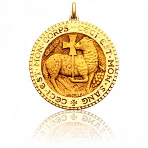 Médaille Agneau Mystique Ronde Or Jaune 18K