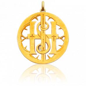 Médaille Monogramme IHS Ajouré Or Jaune 18K - Becker