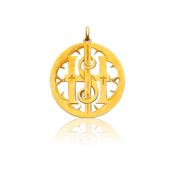 Médaille Monogramme IHS Ajouré Or Jaune 18K