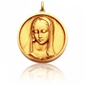 Médaille Vierge Santa Madona Ronde Or Jaune 18K