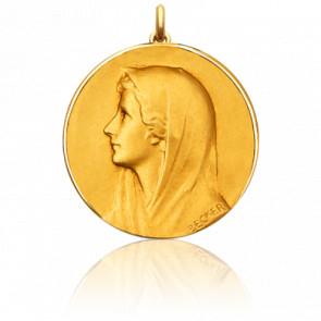 Médaille Vierge au Voile Ronde Or Jaune 18K