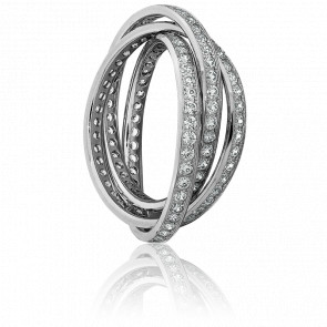 Alliance Trio Enlacé Or Blanc et Diamants 2,30 ct