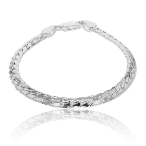 pas mal 22a82 ad340 Bracelet maille anglaise en argent massif 19 cm - Ocarat