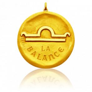 Médaille Zodiaque Signe de la Balance Or Jaune 18K