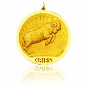 Médaille Zodiaque Signe du Bélier Or Jaune 18K