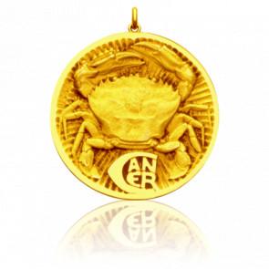 Médaille Zodiaque Signe du Cancer Or Jaune 18K