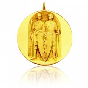 Médaille Zodiaque Signe des Gémeaux Or Jaune 18K