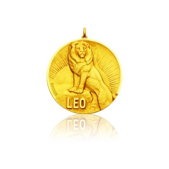 Médaille Zodiaque Signe du Lion Or Jaune 18K