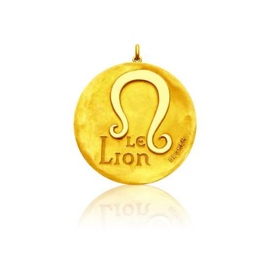 m daille signe du zodiaque du lion m daille ronde en or jaune 18 carats becker ocarat. Black Bedroom Furniture Sets. Home Design Ideas