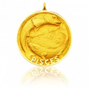 Médaille Zodiaque Signe du Poisson Or Jaune 18K