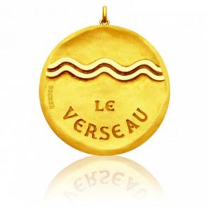 Médaille Zodiaque Signe du Verseau Or Jaune 18K