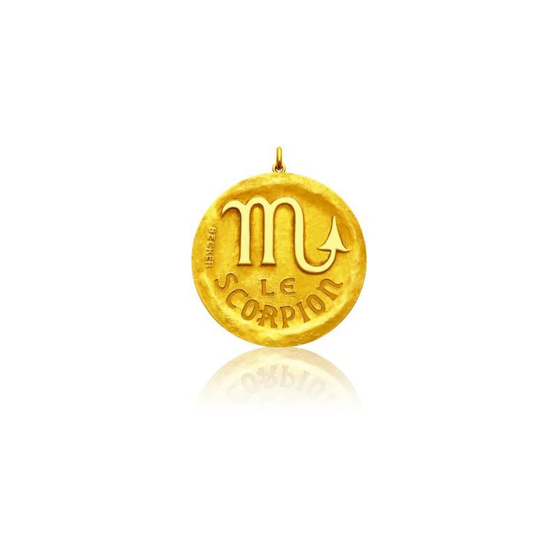 Médaille Zodiaque Signe du Scorpion Or Jaune 18K