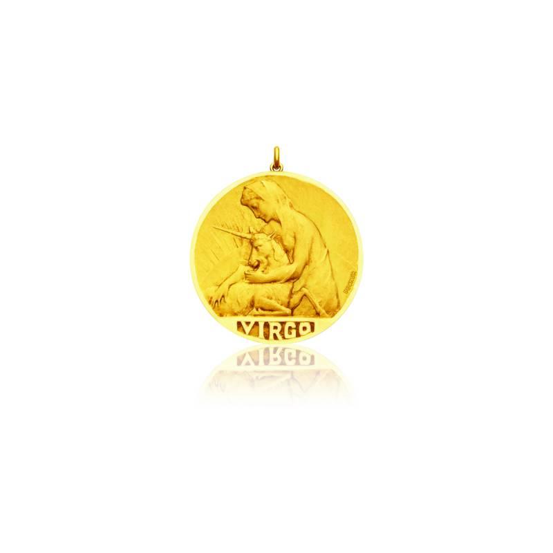 Médaille Zodiaque Signe de la Vierge Or Jaune 18K