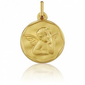 Médaille Ronde Ange Raphaël Ø14 mm Or Jaune 18K