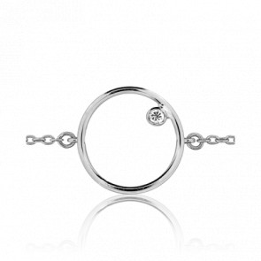 Bracelet Mini Circle Or Blanc 18K et Diamant