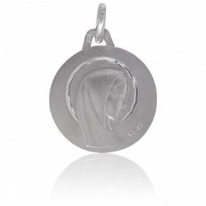 Médaille Vierge Auréolée Or Blanc 18K