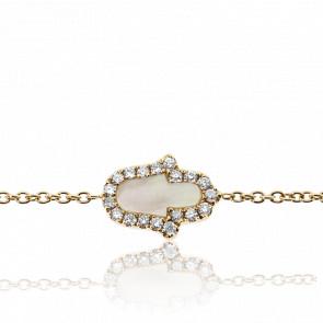 Bracelet Hamsa Nacre & Diamants