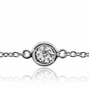 Bracelet Serti Clos Or Blanc