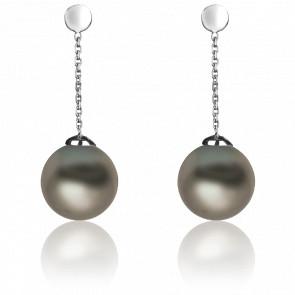 Boucles d'oreilles pendantes perles et or blanc 18 carats