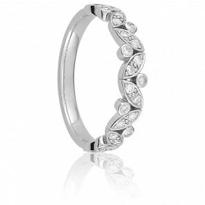 Alliance Monet Or Blanc 9K et Diamants
