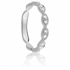 Alliance Constance Or Blanc 9K et Diamants