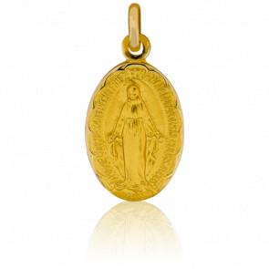 Médaille Vierge Miraculeuse Bord Fleuri, Or Jaune 9K