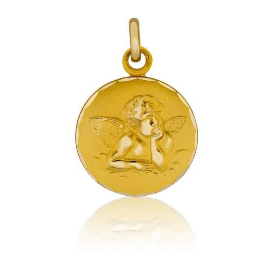 Médaille Ange Raphaël à Bord Guilloché Or Jaune 9K