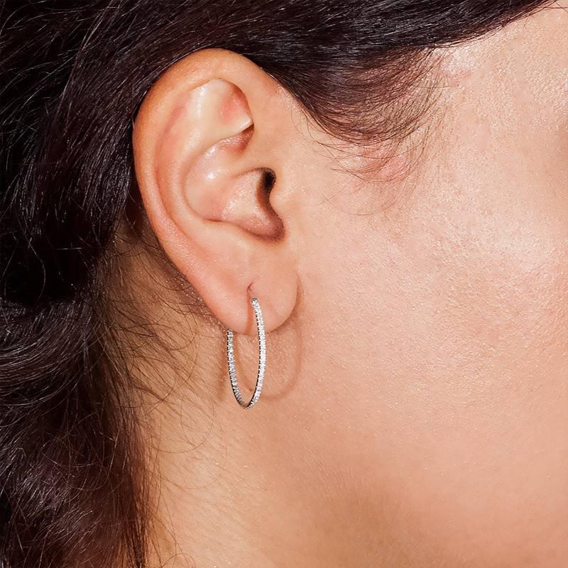 Boucles d oreilles créole or blanc   Diamant - Orphée - Ocarat 702b3615b49d