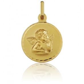 Médaille Ronde Ange Raphaël Facettée Or Jaune 18K
