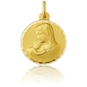 Médaille Ronde Vierge Maternité Facettée Or Jaune 18K