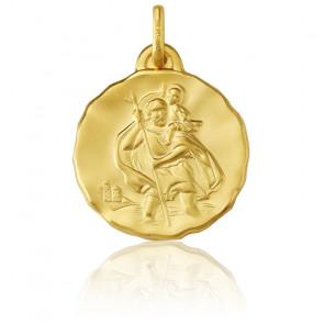 Médaille Ronde Saint Christophe Or Jaune 18K