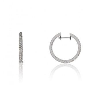 Boucle d'Oreilles Créoles Calliope Diamant & Or Blanc 18K