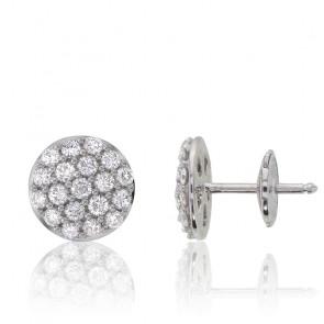 Boucles d'oreilles rondes, or blanc 18 carats & diamants