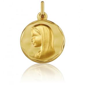 Médaille Vierge Bord Cachet Or Jaune 18K