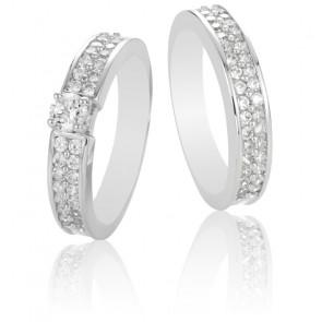 Duo Alliance & Solitaire Orphéa, Diamants GSI & Or Blanc 9K