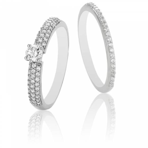 Duo Alliance & Solitaire Roxane, Diamants GSI & Or Blanc 9K