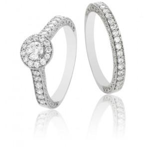 Duo alliance & solitaire Shirin, diamants GSI & or blanc 9K