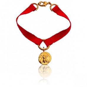 Bracelet Ephèse Ruban de Soie Rouge - Monnaie de Paris
