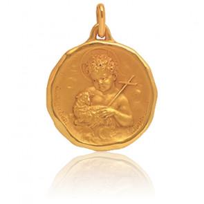Médaille St Jean Baptiste Ronde Or Jaune 18K - Augis