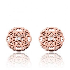 Boucles d'oreilles Mini Dentelle Vermeil Or rose & Diamants