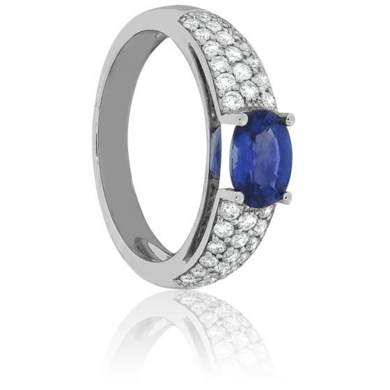 Super Bague Saphir Indigo Diamants Or Blanc - Allegoria - Ocarat PQ63