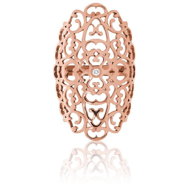 Favori Bague grande dentelle en vermeil rose et diamants - Ocarat PB43