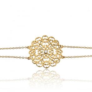 Bracelet Moyen Dentelle Vermeil Or jaune & Diamants