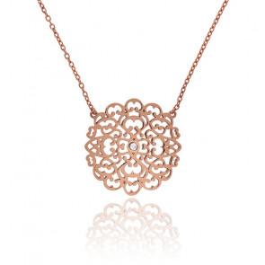 Collier Moyen Dentelle Vermeil Or rose & Diamant