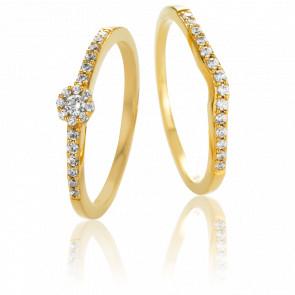 Duo Alliance & Solitaire Iseult, Diamants GVS & Or Jaune 18K