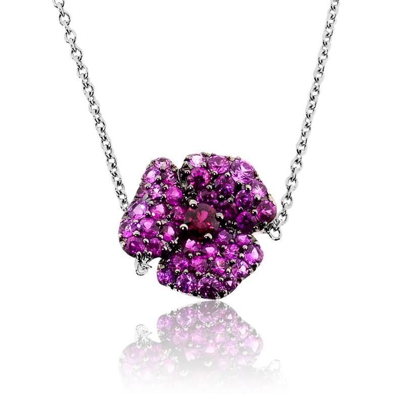 collier hibiscus or blanc et diamants et rubis et saphir rose ocarat. Black Bedroom Furniture Sets. Home Design Ideas