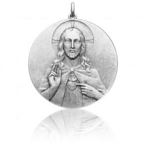 Médaille Christ Sacré Coeur Or Blanc 18K